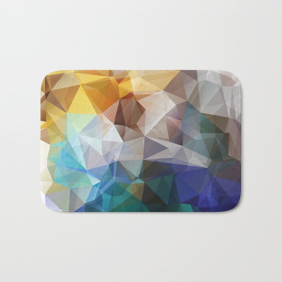 Abstract background of triangles polygon print. Bright design colors Bath Mat