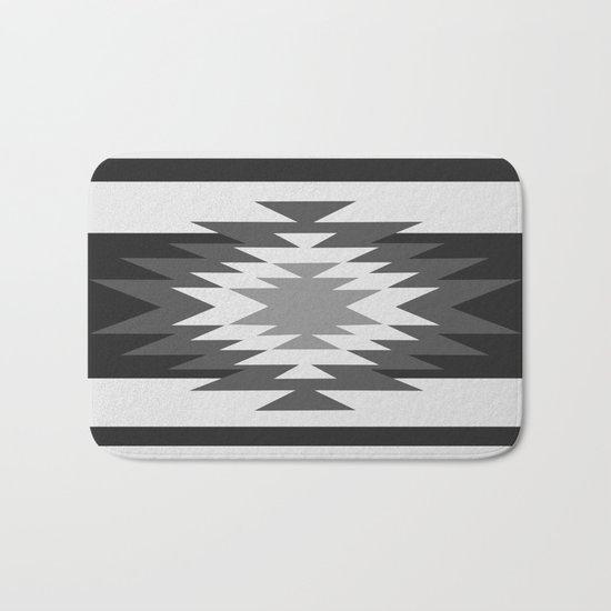 Aztec - black and white Bath Mat