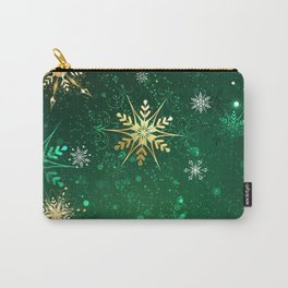 Gold Snowflakes on a Green Background Carry-All Pouch