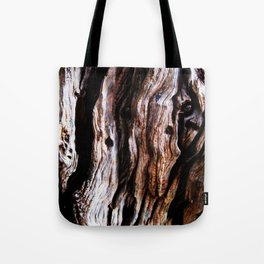 Ancient olive tree wood close-up Tote Bag