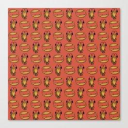 Egyptian Fish, Crocodile on Rusty Red Canvas Print