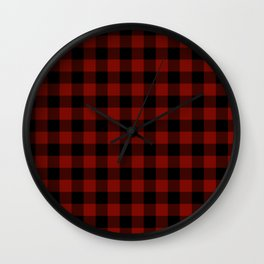 Vintage New England Shaker Large Barn Red Buffalo Check Plaid Wall Clock