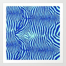 Blue Glitter Zebra Print Art Print