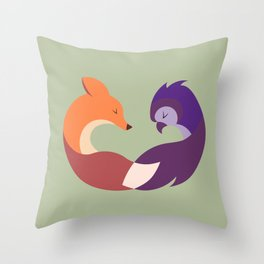 The Fox and the Owl Throw Pillow