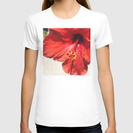 Bright Red Hibiscus Flower Close-Up T-shirt
