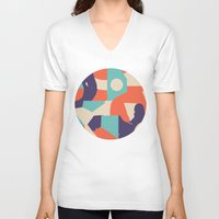 rush V-neck T-shirts featuring No Rush by Wilmer Murillo