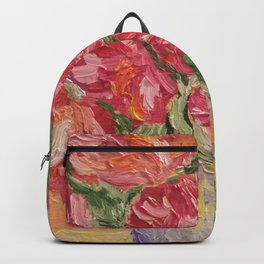 vase with peonies (oil painting) Backpack