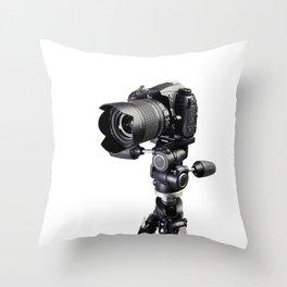 Digital professional SLR black camera on tripod on white Throw Pillow