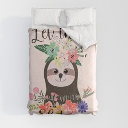 SLOTH ADVICE (pink) - LET THAT SHIT GO Comforters