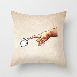 Funny 8bit Nerd & Geek Humor (Creation of Adam Parody) Throw Pillow