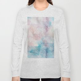 Elegant pastel pink aqua watercolor white snow polka dots Long Sleeve T-shirt