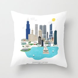 Chicago Illustration Throw Pillow