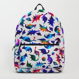 Rainbow Galaxy Watercolor Dinosaurs In Space Backpack