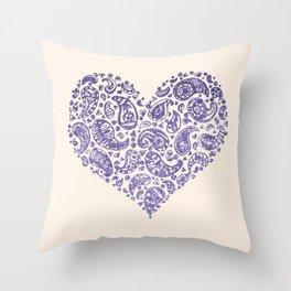 Purple Brocade Paisley Heart Throw Pillow