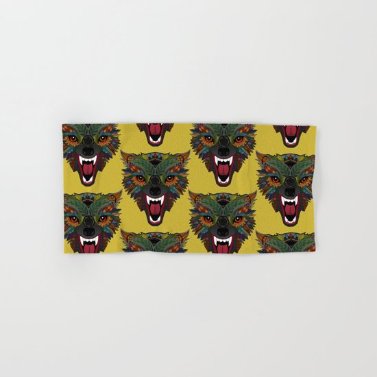wolf fight flight ochre Hand & Bath Towel