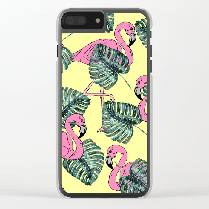 tropical leaves with flamingo Clear iPhone Case