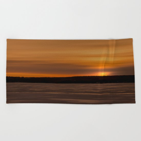 Sunset in December Beach Towel