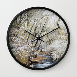 A Creek on a Snowy Day in Boulder, Colorado Wall Clock