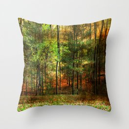 Autumn Sunset - In The Woods Throw Pillow