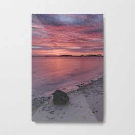 Pink dawn sky reflected in the surface of the sea. Norfolk, UK. Metal Print