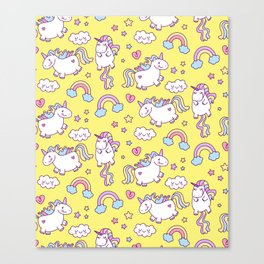 Seamless unicorn pattern with clouds, hearts, and rainbow on yellow background Canvas Print