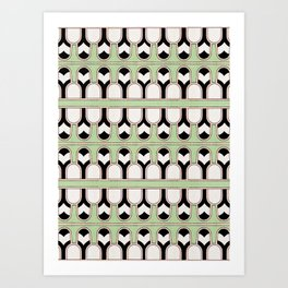 Vintage Mint Green Assyrian Pattern with a hint of Art Deco Art Print