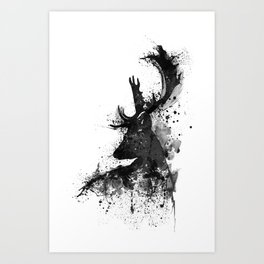 Deer Head Watercolor Silhouette - Black and White Art Print