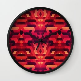 Abstract red geometric triangle texture pattern design (Digital Futrure - Hipster / Fashion) Wall Clock