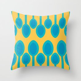 Blue spoons field Throw Pillow