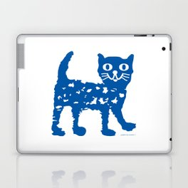 Navy blue cat pattern Laptop & iPad Skin