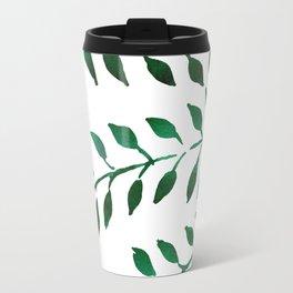 Green Watercolor Fronds Travel Mug