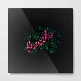 Breathe Jungle Neon Sign Metal Print