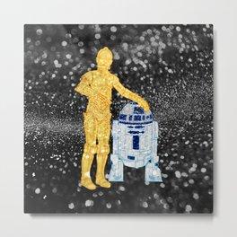 Glitter Droids Metal Print