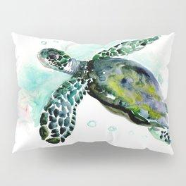 Sea Turtle, underwater scene, navy blue green turquoise Pillow Sham