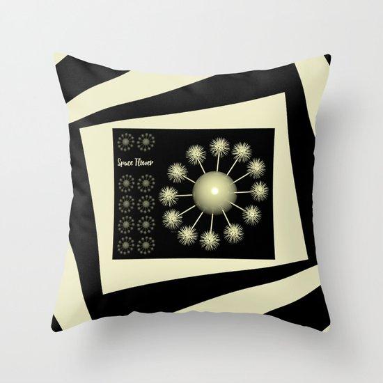 Three Dimensional Space Flower Throw Pillow