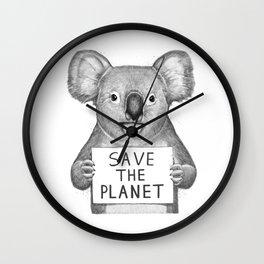 Koala save the planet Wall Clock