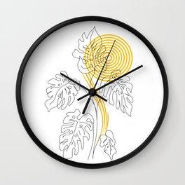 Monstera line Art Wall Clock