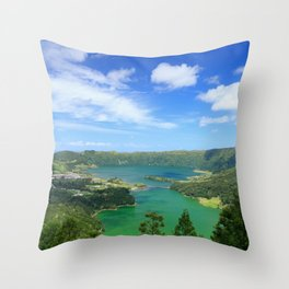 Lakes in Azores Throw Pillow