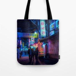 Neon Lit Seoul Tote Bag
