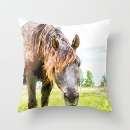 Horse in the Field.  Watercolor Painting Style. Throw Pillow