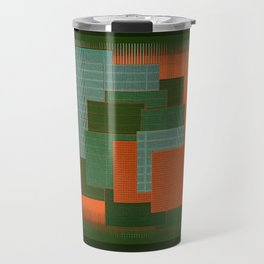Orange Color Geometry Travel Mug