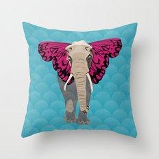 Elephant Butterfly Throw Pillow