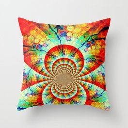 Fractal Suns Converging Throw Pillow