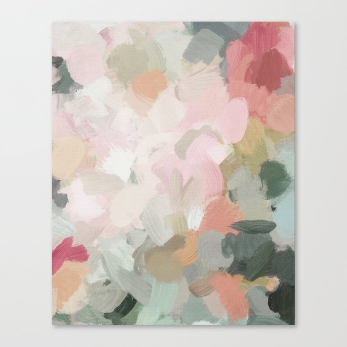 Forest Green Fuchsia Blush Pink Abstract Flower Spring Painting Art Canvas Print By Rachelelise