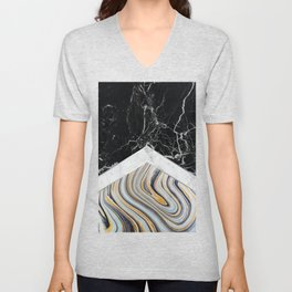 Arrows - Black Granite, White Marble & Blue Marble #182 Unisex V-Neck
