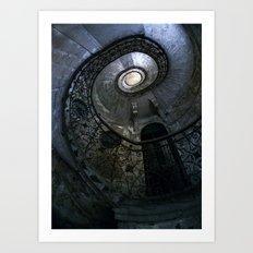 Spiral Staircase in blue and gray tones Art Print