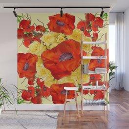ORANGE POPPY FLOWERS GARDEN YELLOW ROSES ART Wall Mural