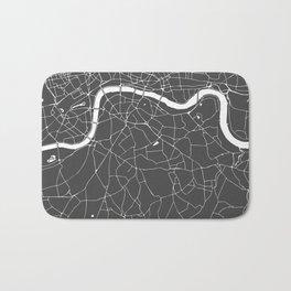 Gray on White London Street Map Bath Mat