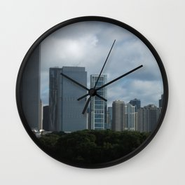 Chicago Skyline, Cloudy Day in Chicago Wall Clock