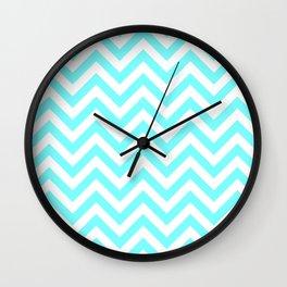 Spring Blue Chevrons Pattern Wall Clock